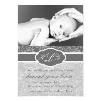 Invitación sofisticada del bebé gris