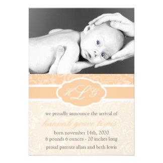 Invitación sofisticada del bebé naranja