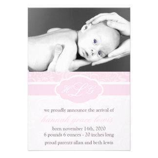 Invitación sofisticada del bebé palidezca - el ro