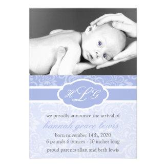 Invitación sofisticada del bebé púrpura