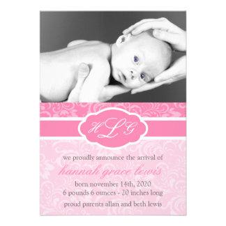 Invitación sofisticada del bebé rosa
