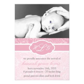 Invitación sofisticada del bebé rosa de color de