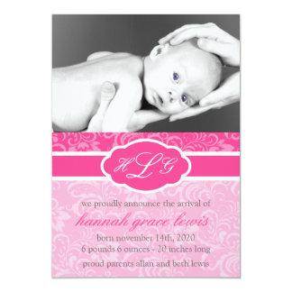 Invitación sofisticada del bebé (rosa de la