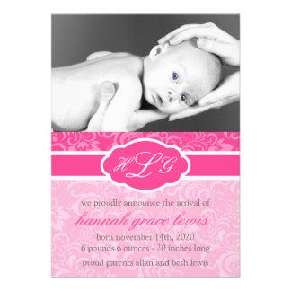 Invitación sofisticada del bebé rosa de la frambu