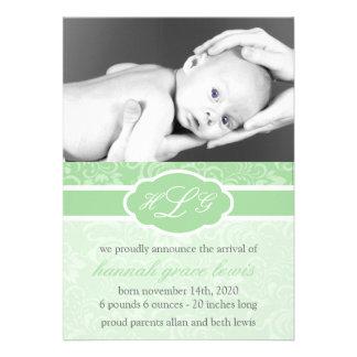 Invitación sofisticada del bebé verde