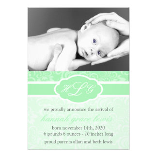 Invitación sofisticada del bebé verde menta