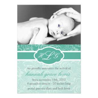 Invitación sofisticada del bebé verde oscuro