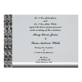 Invitación sofisticada del boda del damasco