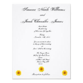Invitación soleada del boda del girasol