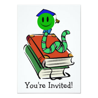 Invitación sonriente verde del ratón de biblioteca invitación 12,7 x 17,8 cm