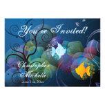 Invitación subacuática colorida del boda de los pa
