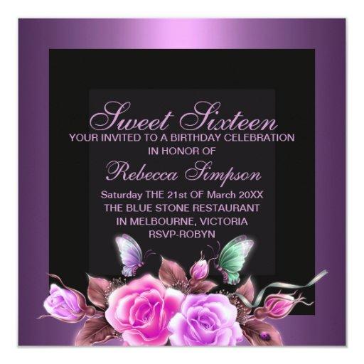 Invitación subió púrpura del cumpleaños del dulce