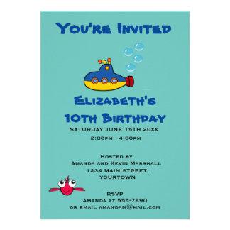 Invitación submarina amarilla y azul del fiesta