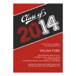 Invitación sucia 2014 - rojo de la graduación del