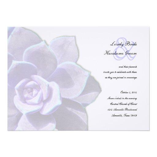 Invitación suculenta del boda de la lila translúci