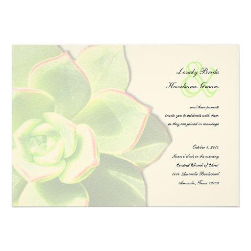 Invitación suculenta verde translúcida del boda