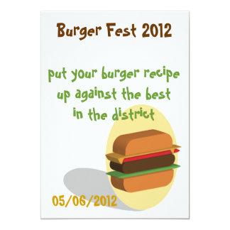 Invitación temática de la hamburguesa o tarjeta invitación 12,7 x 17,8 cm