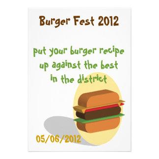 Invitación temática de la hamburguesa o tarjeta de