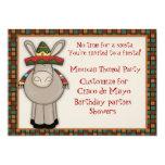 Invitación temática del burro mexicano invitación 12,7 x 17,8 cm