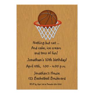 Invitación temática del cumpleaños del baloncesto