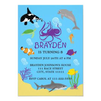 Invitación temática del cumpleaños del océano de