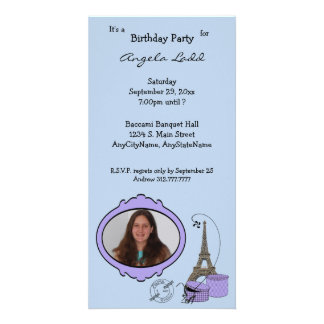 Invitación temática del fiesta de la foto de París Tarjetas Fotográficas Personalizadas