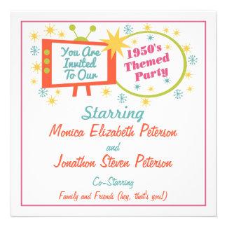 Invitación temática del fiesta de los años 50 retr