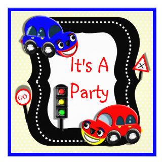 Invitación temática del fiesta de los coches lindo