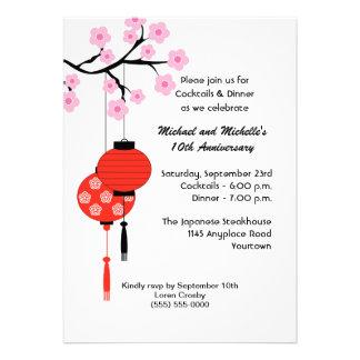 Invitación temática japonesa del aniversario