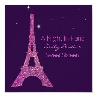 Invitación temática púrpura del dulce dieciséis de