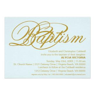 Invitación tipográfica de oro del bautismo del dis