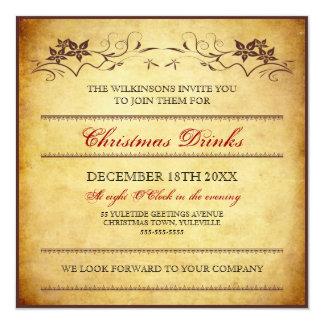 Invitación tipográfica de papel del navidad del
