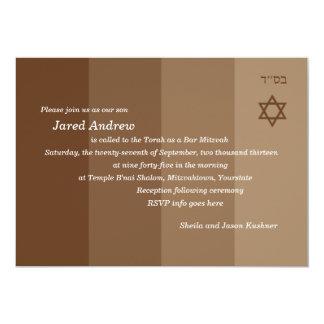 Invitación tonal de Mitzvah de la barra de Brown Invitación 12,7 X 17,8 Cm