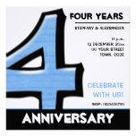 Invitación tonta del aniversario del azul del núme