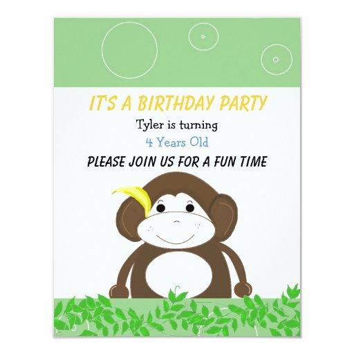 Invitación tonta del cumpleaños del mono invitación 10,8 x 13,9 cm