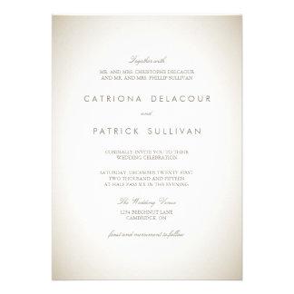 Invitación tradicional de papel del boda del vinta