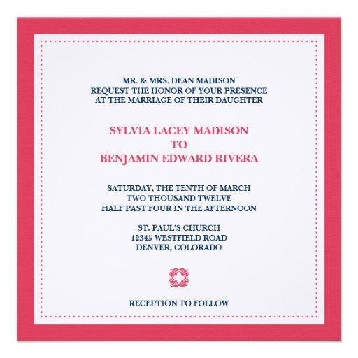 Invitación tradicional del boda del cuadrado rojo