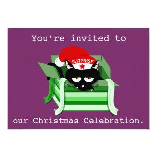 Invitación traviesa de la fiesta de Navidad de la