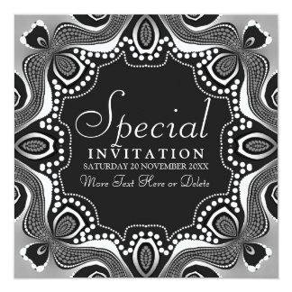 Invitación tribal blanca negra del fiesta del arte invitación 13,3 cm x 13,3cm
