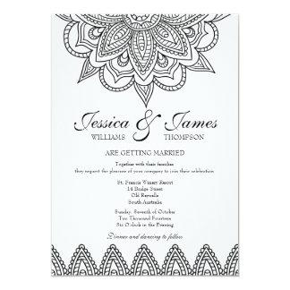 Invitación tribal blanco y negro elegante del boda