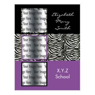 invitación triple púrpura elegante de la tarjeta postal