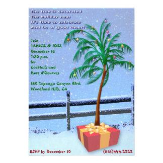 Invitación tropical de la fiesta de Navidad