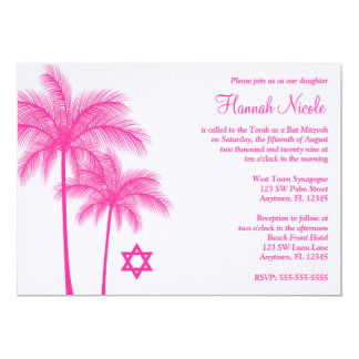 Invitación tropical de Mitzvah del palo de la