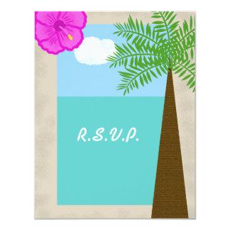 Invitación tropical de RSVP del boda de playa