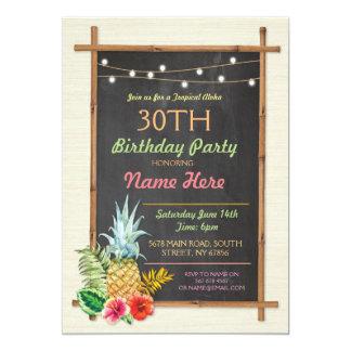 Invitación tropical de Tiki de la hawaiana de Luau