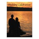 Invitación tropical del boda de la puesta del sol