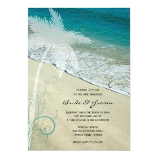 Invitación tropical del boda de playa