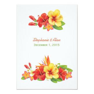 Invitación tropical del boda del hibisco