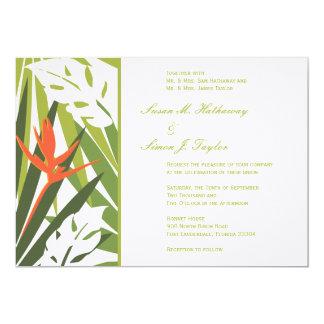 Invitación tropical del boda - verde y naranja