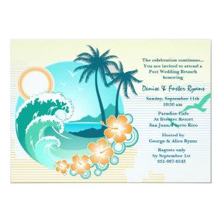 Invitación tropical del brunch del boda del poste